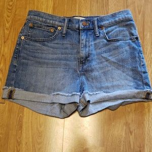 Madewell lightwash highrise cuffed shorts sz 27